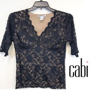 CAbi Black Lace Lined 3/4 Sleeve Stretch 490 Large